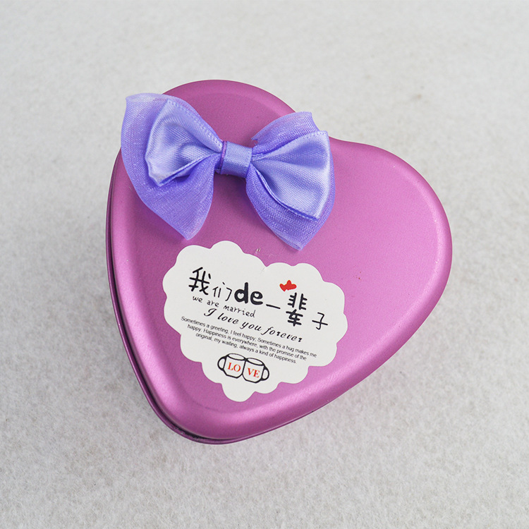 Bryllup Gift Bowknot Heart Tin Box
