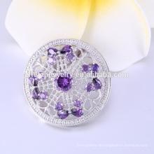 Heißer Verkauf lila Kristall Splitter plattiert Broschen für Frauen, Blume geformt Hochzeit Broschen Hersteller