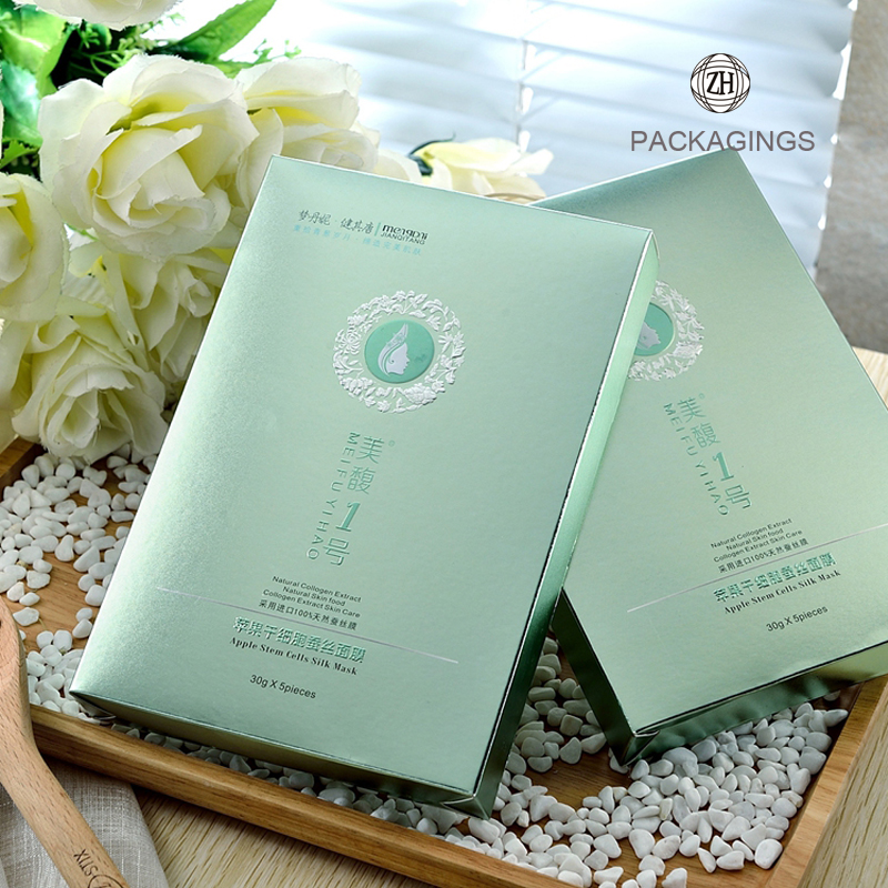Custom ivory board material paper facial mask box
