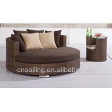 Popular Patio Waterproof diamond lounge outdoor rattan furniture daybed