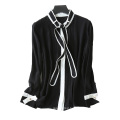 Women's blouses 100% pure silk latest design single breasted cardigan with long bow tie decor white stripe top fly