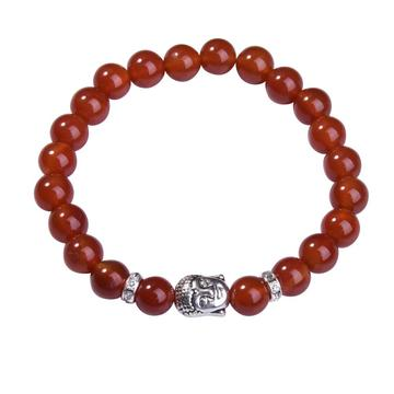 Natural Red Carnelian 8MM Gemstone Buddhism Prayer Beads Bracelet Buddha Jewelry