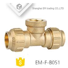 EM-F-B051 Té laiton 3 voies Espagne Diamètre filetage femelle et raccord de tuyau de compression