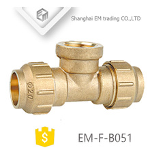 EM-F-B051 3 Way Brass Tee Spain Diameter Female thread and Compression Pipe fitting
