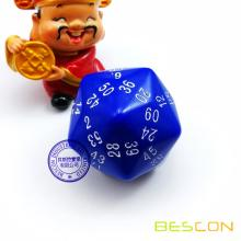 Bescon New Style Multi-sides Dice Polyhedral Dice 60-sided Gaming Dice, D60 dice, D60 dice, 60 Sides Die, 60 Sided Cube Blue