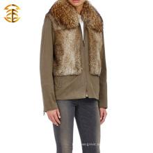 2015 Nueva capa de estilo con piel de mapache Guante y piel de conejo Abrigo de piel de chaleco