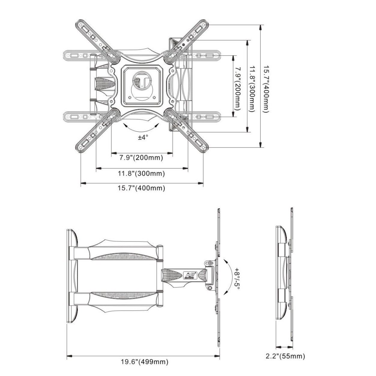 w6 tv wall mount size drawing