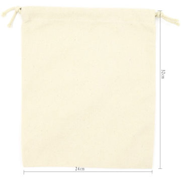 Promotional recycled small white organic cotton drawstring packaging bag