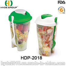 Atacado para ir salada Shaker Cup com garfo (HDP-2018)