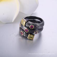 Joyería de moda al por mayor anillo de cristal de piedra zircon plateado negro