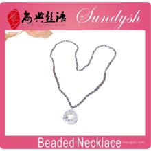 El último diseño rebordea el collar de cristal hecho a mano de plata de la joyería larga de los collares