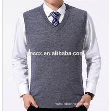 PK18ST046 plain knitted grey V neck sweater vest for men
