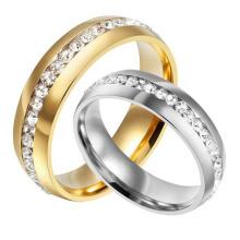 Anel de casamento chapeado da zircônia cúbica da forma redonda do ouro da prata do titânio do conforto de 6mm