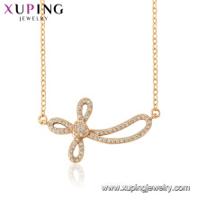 44554 xuping 18k gold color wholesale fashion religion distorted inverted cross necklace