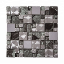 Square Crystal Glass Metal  Mosaic Tile with Low Price for Kitchen Backsplash