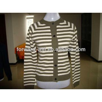 ladies' cashmere knitted cardigan stripe design 12gg