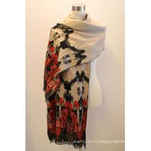 Леди мода вискоза Жаккардовые бахромой платок (YKY4409)