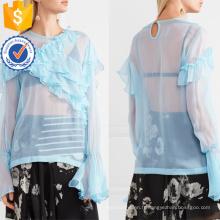 Vente chaude Bleu En Mousseline de Soie À Manches Longues Volants Été Top Fabrication En Gros Mode Femmes Vêtements (TA0089T)