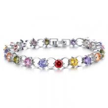 Ladies 925 Silver Bangle Colored Stones Round Crystal Diamond Bracelet