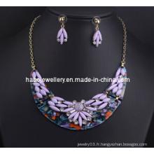 Ensemble de collier en pierre fleur de résine (XJW13216)