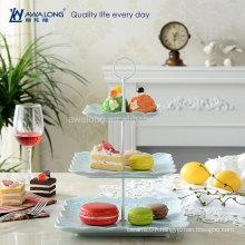 Square Shape Unique Design Fine Porcelain Personalized Christmas Dessert Plates, Cheap Three Layers Plates