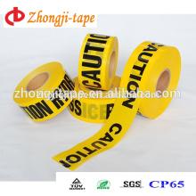 Filme amarelo com palavras de impressão pretas polícia / tráfego usa fita de barreira pe