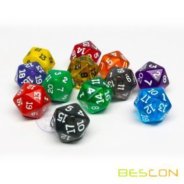 Transparent Different Colored Polyhedral 20 Sided Dice