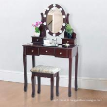 Coiffeuse avec tabouret et lampes à LED à 5 tiroirs et miroir, brun