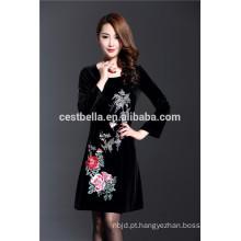 New Autumn Winter Fashion Plus Size 5XL Luxo Black Full Sleeve Slim Bordado Vestido