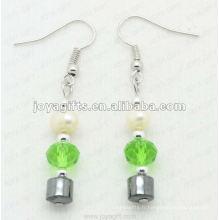 Boucles d'oreilles en perles de perles d'hématite de mode; perles d'hématite et boucles d'oreilles en argent de boucles d'oreilles boucles d'oreilles en hématite 2pcs / set
