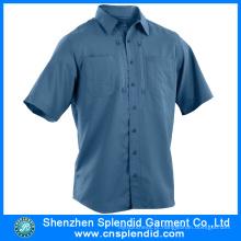 Camisas De Algodão De Alta Qualidade Camisas de Algodão de Manga Curta Logotipo Personalizado