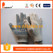 Cotton with Polyester String Knit Blue PVC Dots Gloves Dkp153