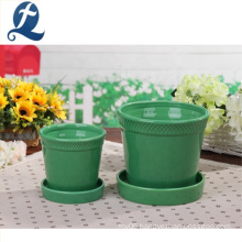 New design round shape green ceramic garden flower pot