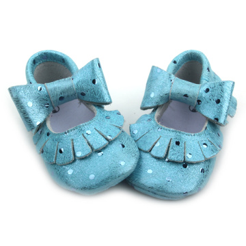 Campuran Warna Blue Fancy Metallic Baby Moccasins