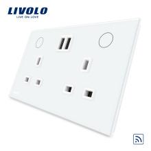 Пульт дистанционного управления Livolo для умного дома 13А, двойное гнездо USB для Великобритании VL-W2C2UKRU-11