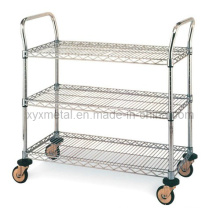 3 Tiers Chrome Shelf Cart Rolling Wire Mesh Regale