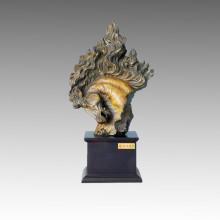 Escultura de bronce animal Estatua de cobre amarillo media de la cabeza de caballo Tpal-002
