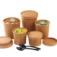 PLA coating Eco-friendly Disposable 32 oz  take away hot soup paper soup bowl container with paper pp lids