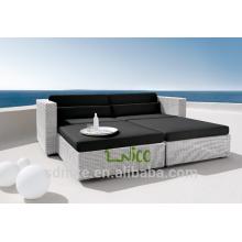 SL-(13) outdoor patio furniture PE rattan sofa cum bed/ sleeper sofa