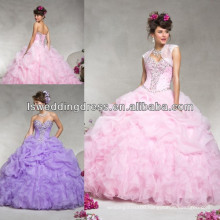 HQ2049 New style organza with beading sweetheart neck sleeveless heavy beaded top bubble skirt ball gown pink quinceanera dress