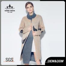 Suéter de punto con diseño de ala de punto Jacquard de manga larga para mujer