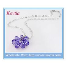 Moda prata coração link cadeia de cristal roxo flor flutuante pingente colar