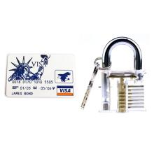 Cadeado transparente com 5PCS Card Lockpicking Tools (Combo 1)