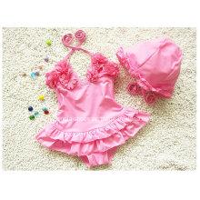 Pink Little Girl′s Ruffled New Swimsuit