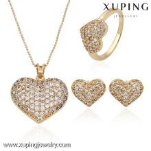 63524-Xuping chaud élégant désherbage bijoux en forme de coeur ensemble de bijoux dans la dernière conception