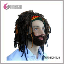 2016 artesanal de peruca de lã chapéu de barba rasta de malha chapéu de crochê (snmxm020)