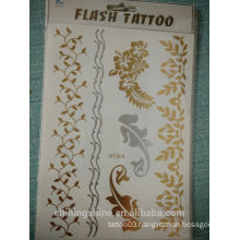 black and white 2016 new fashion temporary gold leaf body water transfer printing shining metal tattoo sticker for hair and body