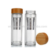 Hot Selling Promotional Gift Leakproof Portable Reusable Wide Mouth Double Wall Glass Bottle With Wood Lid