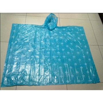Poncho in PE blu con stampa all over