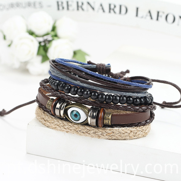 Eye Charm Leather Bangle